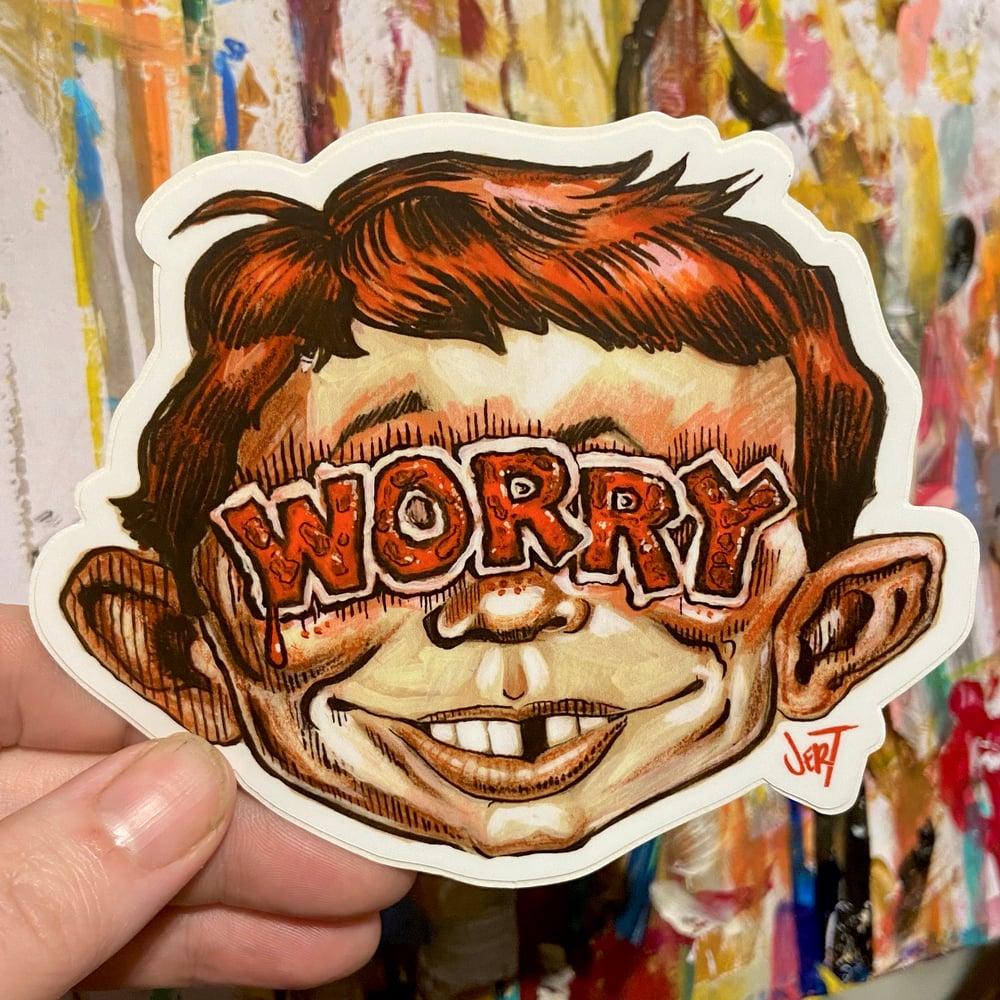 "Image of ""WORRY""-SLAP-Sticker"