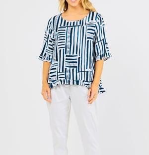 Image of Audrey Navy linen blend matchsticks top