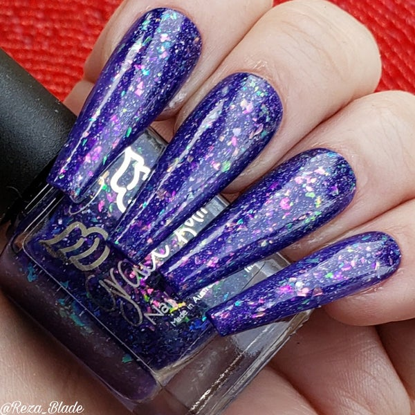 Image of Eve Magic –indigo jelly & crystal colour shifting flakes in pink/violet/green/gold & holo f