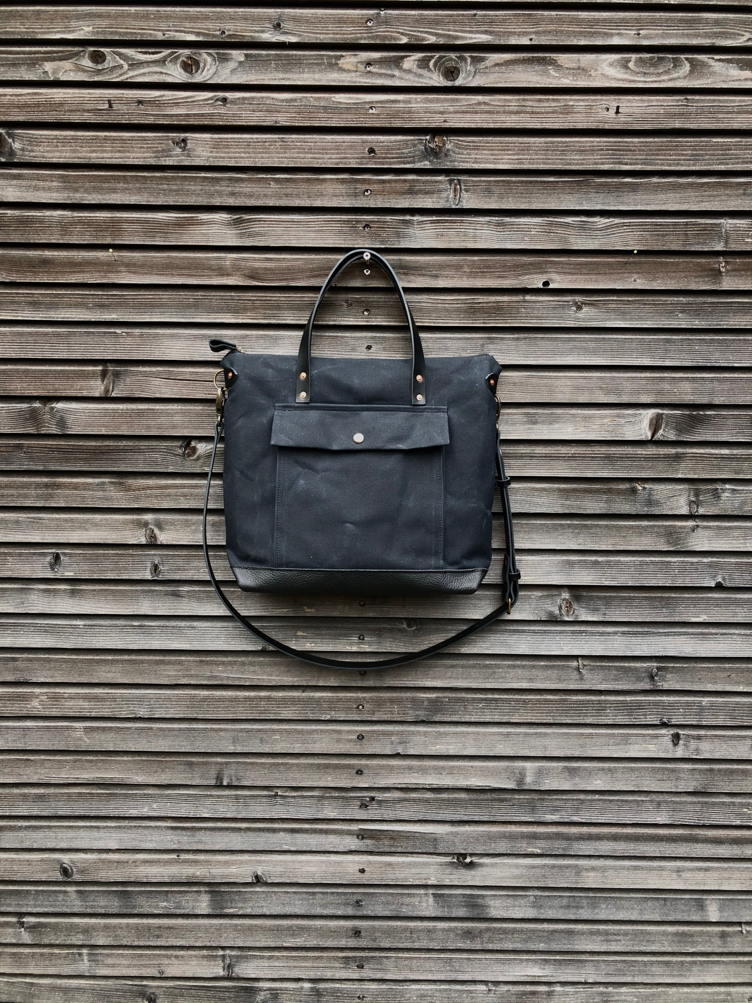 Image of Black briefcase in waxed canvas with outside pocket - wax canvas attache - waterproof satchel
