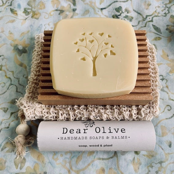 Image of soap + wood + plant