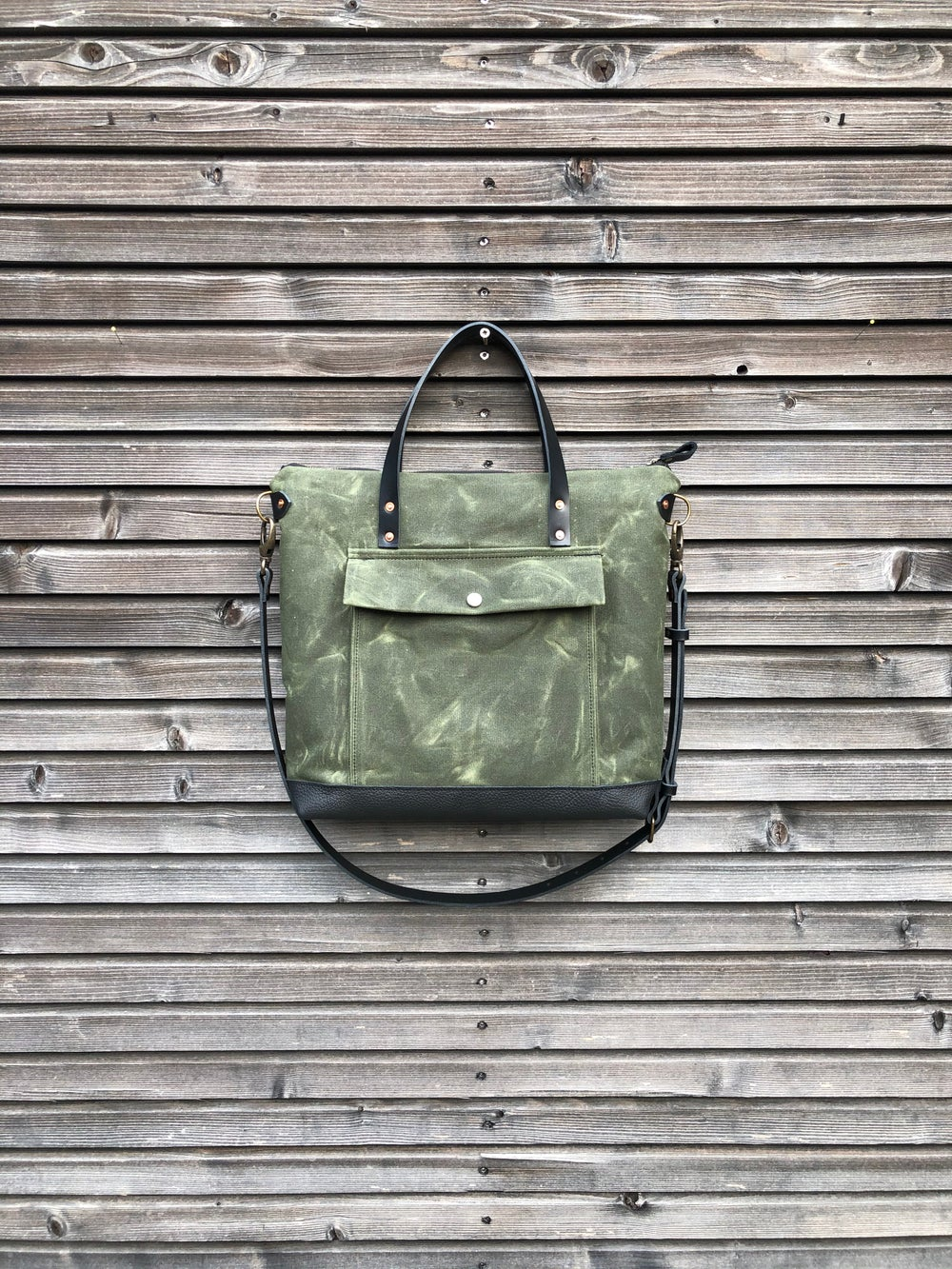Image of Olive green Briefcase in waxed canvas with outside pocket - waxed canvas attache