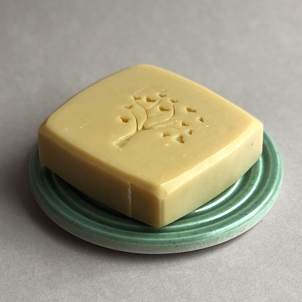 Image of sea green soap dish plus dear olive soap