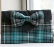 Image of Blue Tartan Bow Clutch