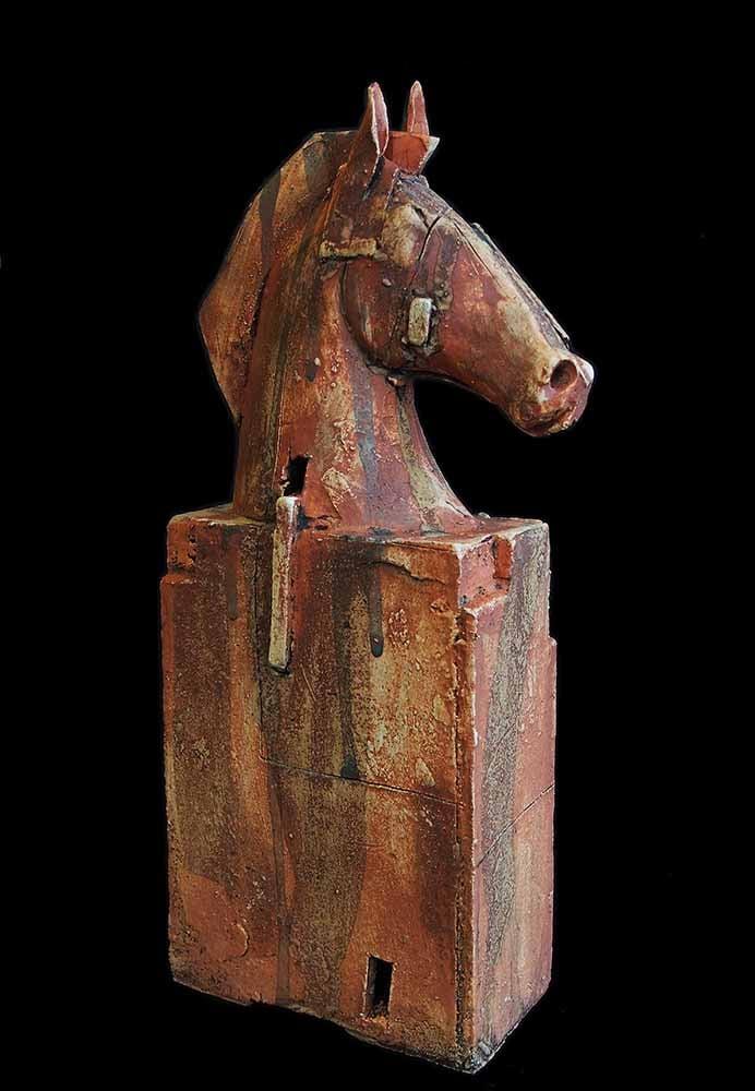 Image of CHRISTY KEENEY CERAMIC SCULPTURE - 'HORSE HEAD'