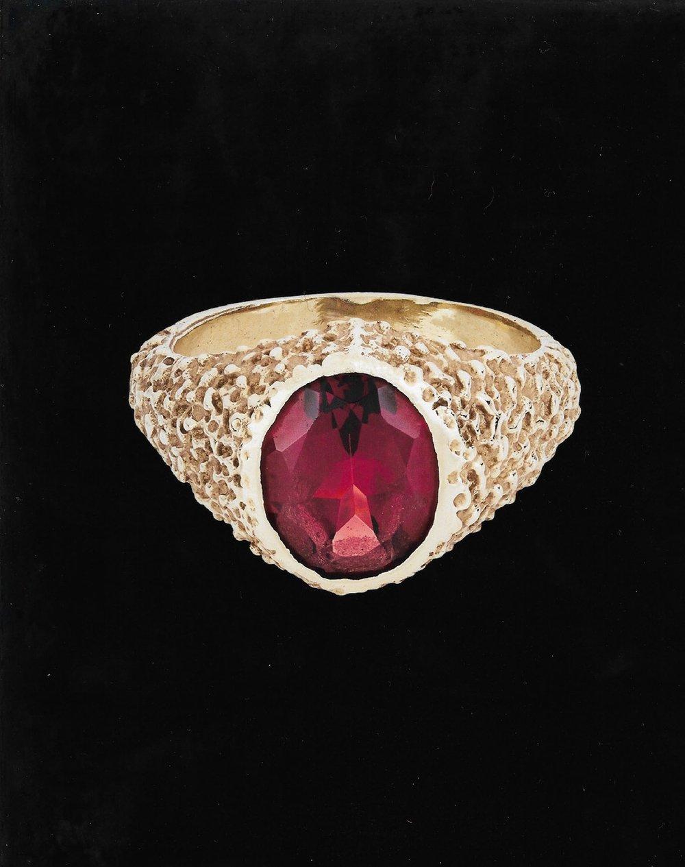 Image of RED GARNET ORE RING