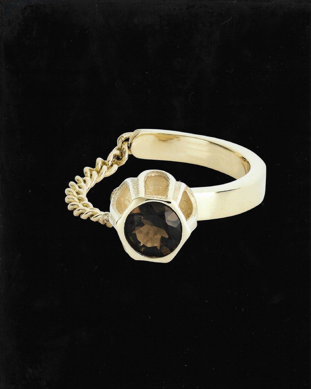 Image of BROWN SMOKEY QUARTZ COBBLE RING