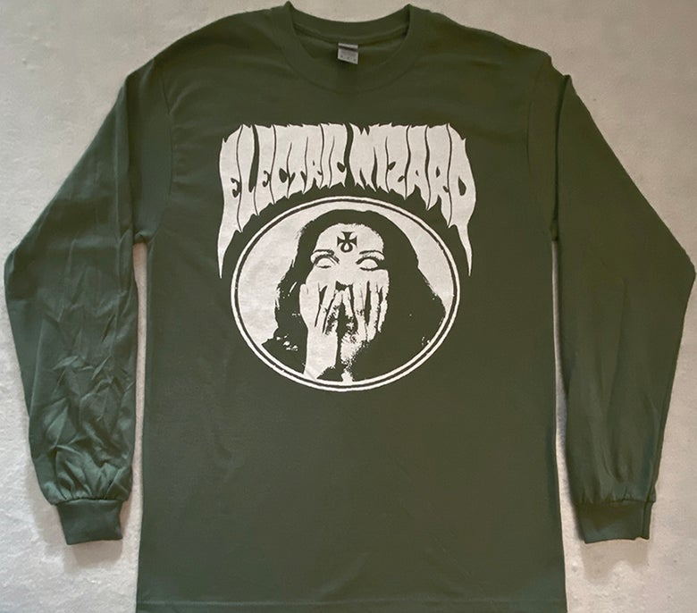 "Image of Electric Wizard "" Inverted Ankh Girl "" Green Longsleeve T shirt"