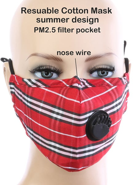 Image of RED PLAID MASK