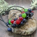 Lampwork necklace with gooseberry and raspberry