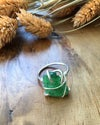 Large Green Sea Glass and Recycled Silver Ring