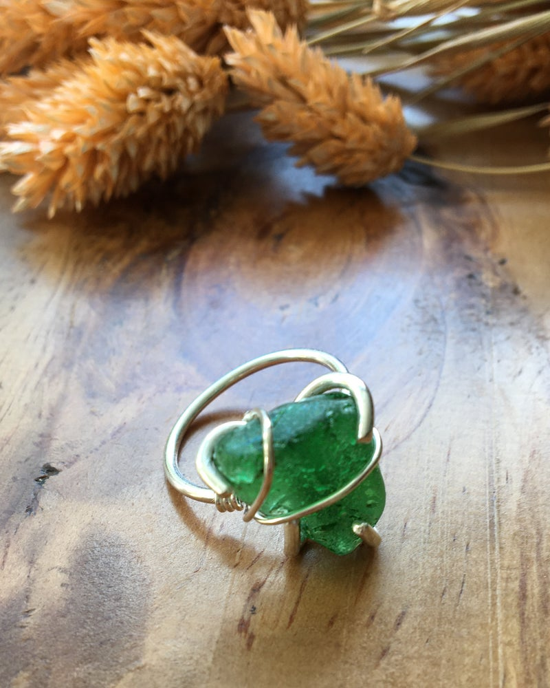 Image of Large Green Sea Glass and Recycled Silver Ring