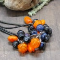 Lampwork necklace with cloudberry  and sea buckthorn berry