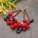 Lampwork bracelet with crabapple and blue honeysuckle berry