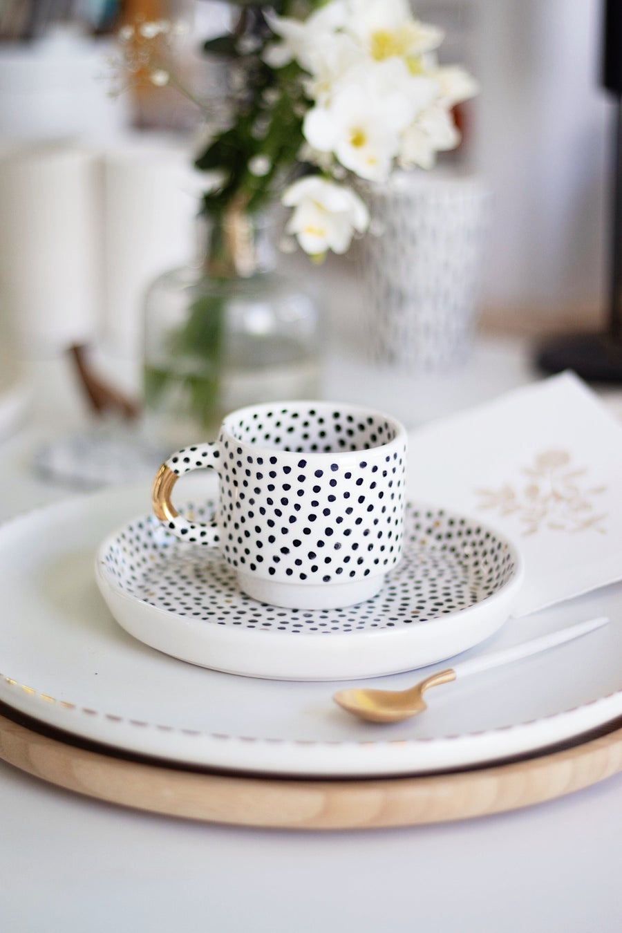 Image of Polka Dots and Gold Coffee Set