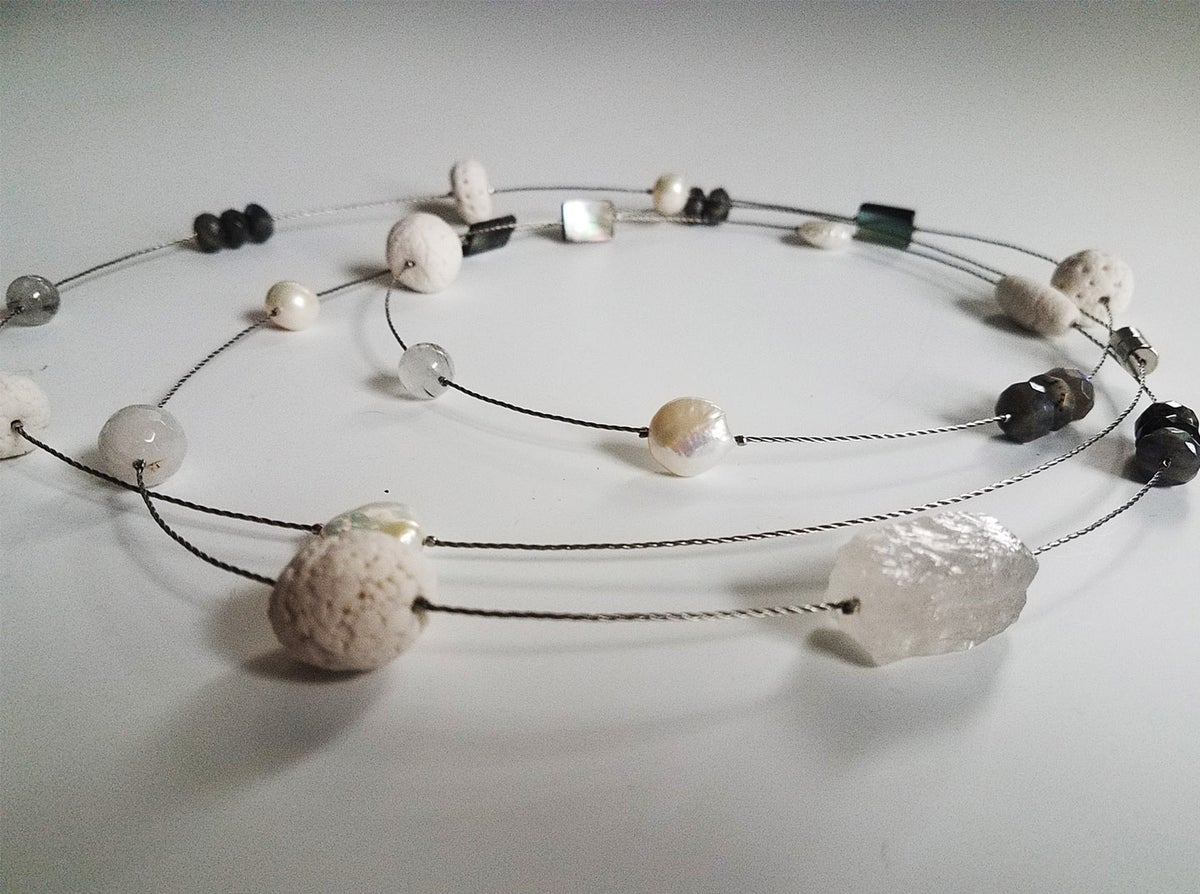 Porcelain long necklace- white and crystal