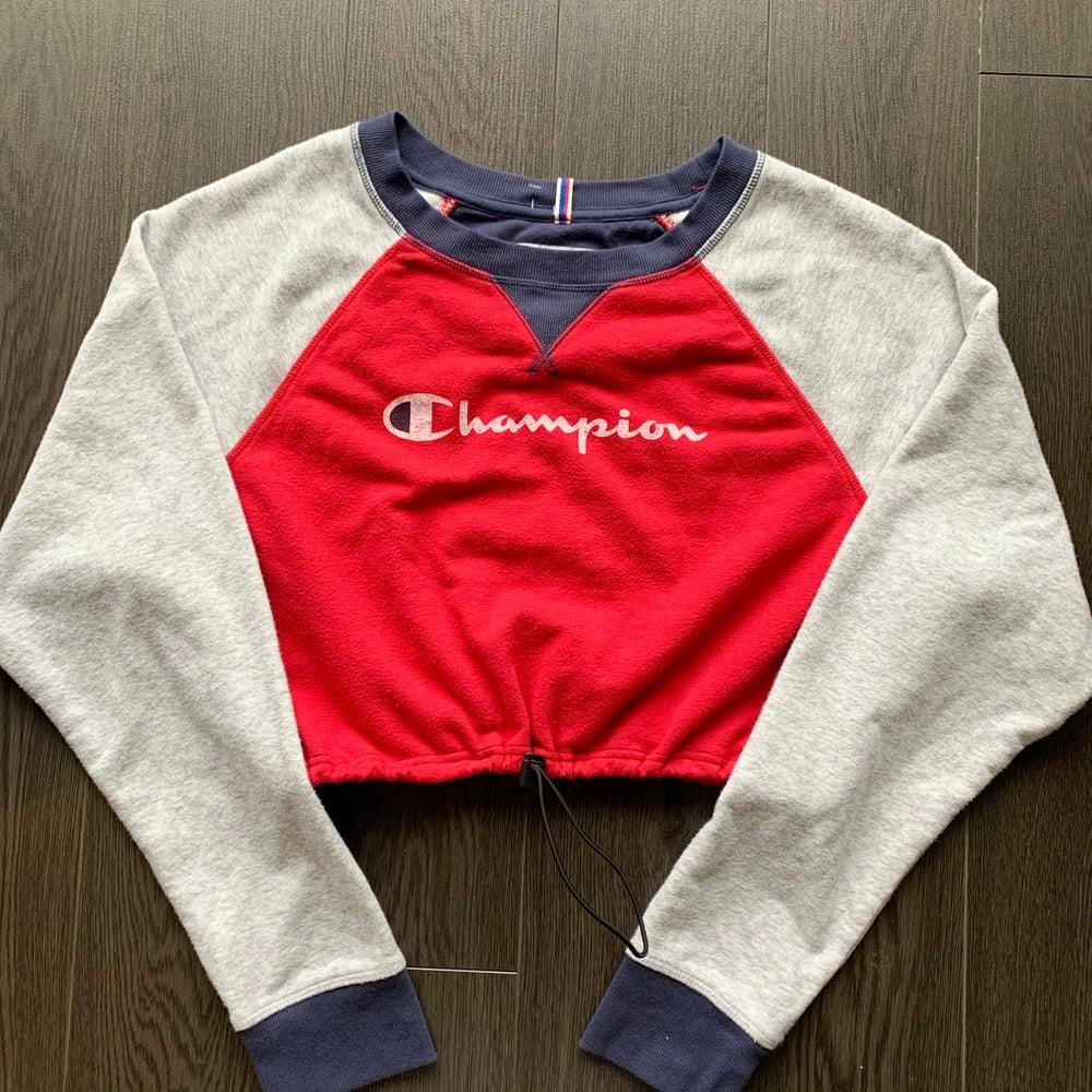 Image of Reworked Champion Raglan Crop Sweatshirt