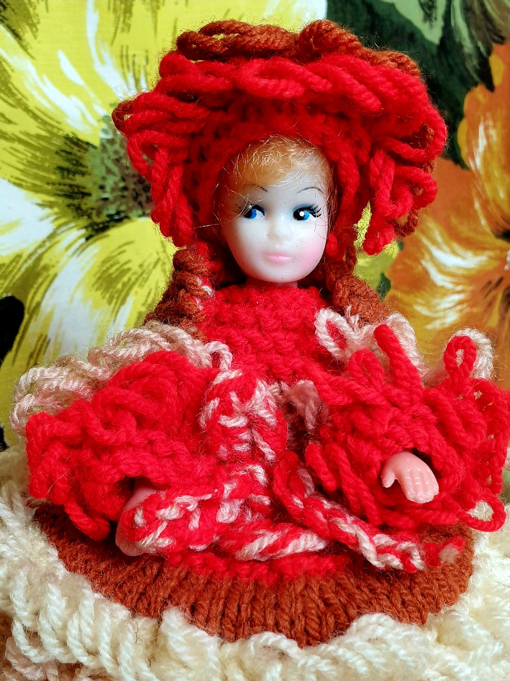 Oh-So-Sweet Vintage Hand Knit Toilet Roll Doll