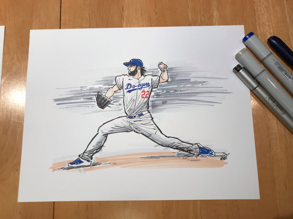 Image of 2020 WS Champion LA Dodgers Pitcher Clayton Kershaw drawing