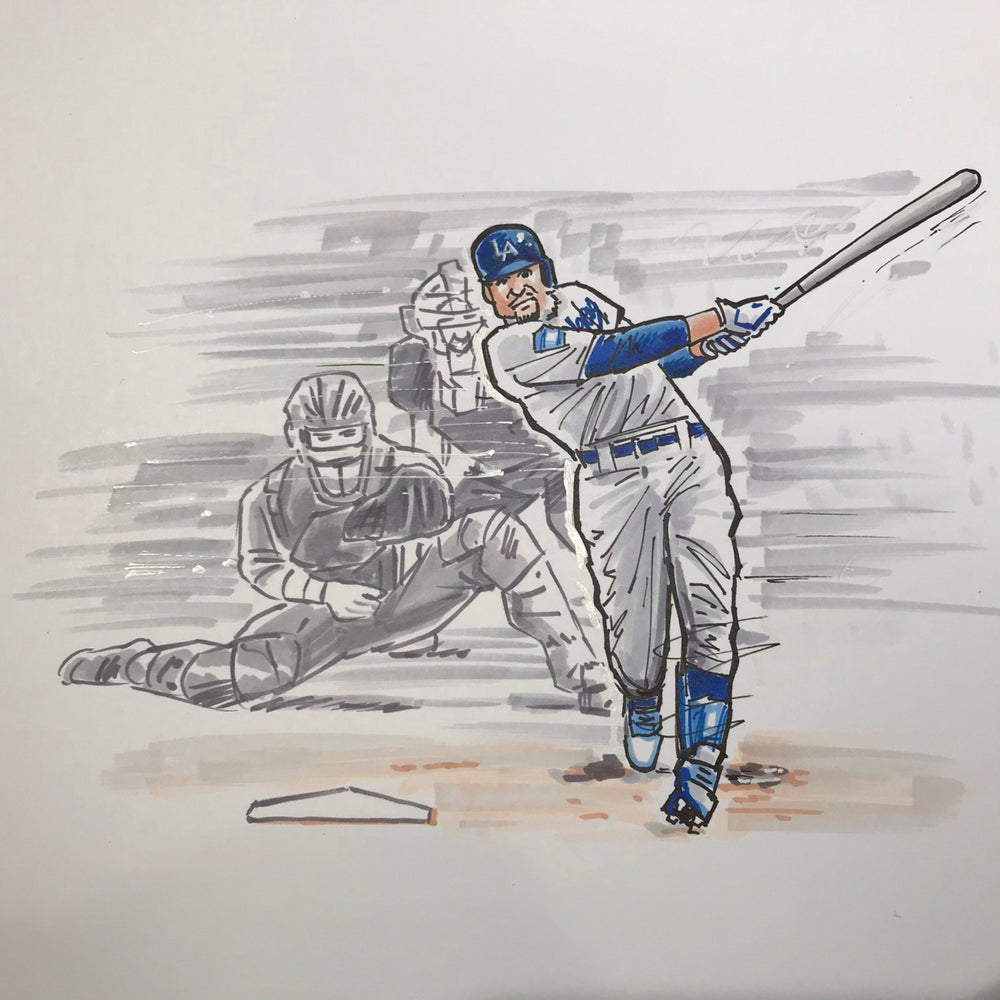 Image of 2020 WS Champion LA Dodgers Mookie Bettis drawing