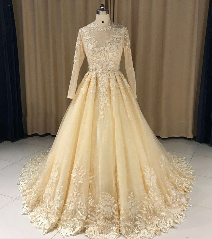 Champagne Lace Ball Gown Long Sleeves Formal Dress, Long Party Gown