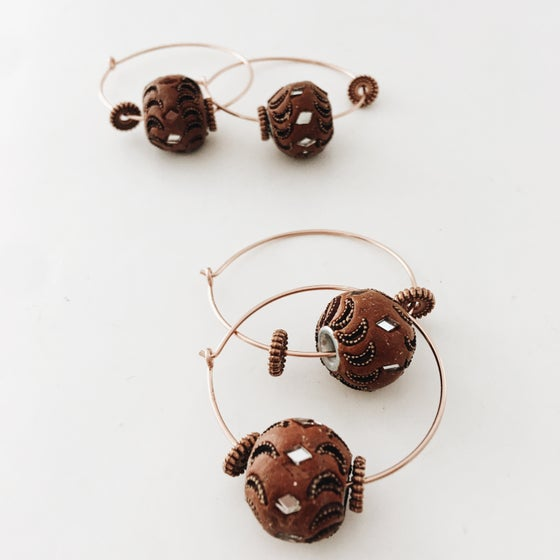 Image of Rose gold/ luxe clay earrings