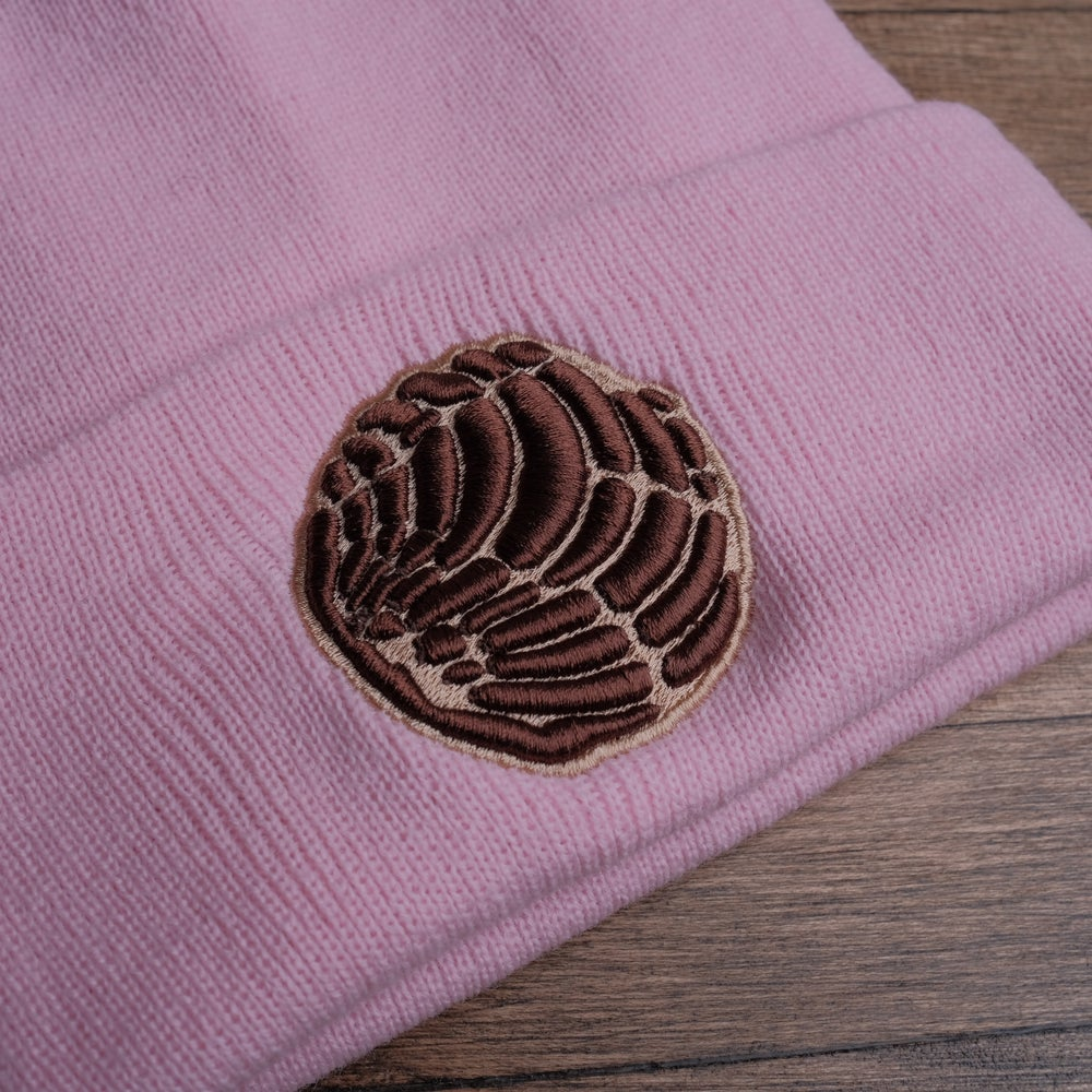 Brown concha on pink beanie