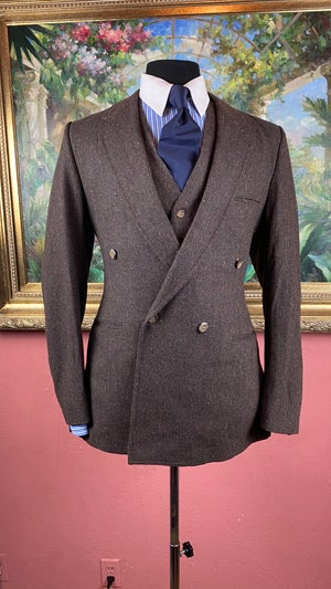 Image of VTG 3 Piece Double Breasted Tweed Suit