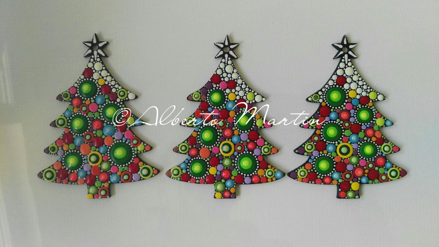 Image of (Number 23). New Christmas tree ornaments - Dot art Christmas decor. Set of 3.