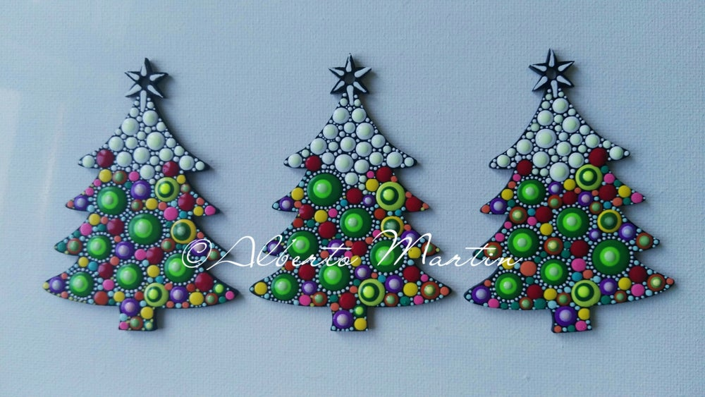 Image of (Number 26). New Christmas tree ornaments - Dot art Christmas decor. Set of 3.