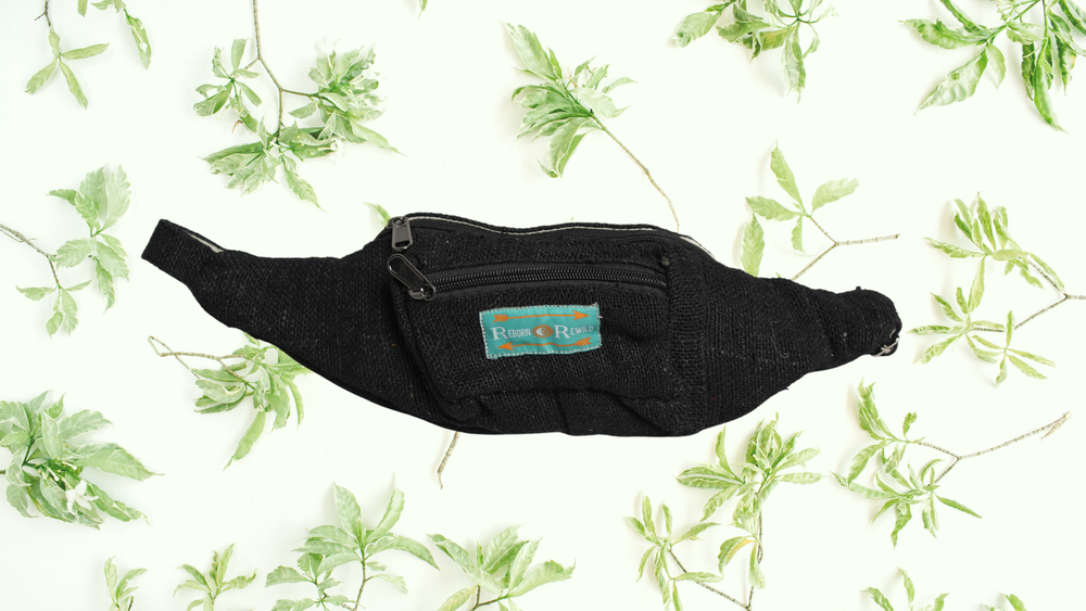 Organic Hemp Bumbag - Black | 100% Vegan | Eco Friendly | Handmade | Money Belt | Himalayan Hemp No