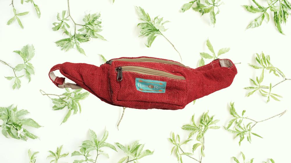 Organic Hemp Bumbag - Red | 100% Vegan | Eco Friendly | Handmade | Money Belt | Himalayan Hemp