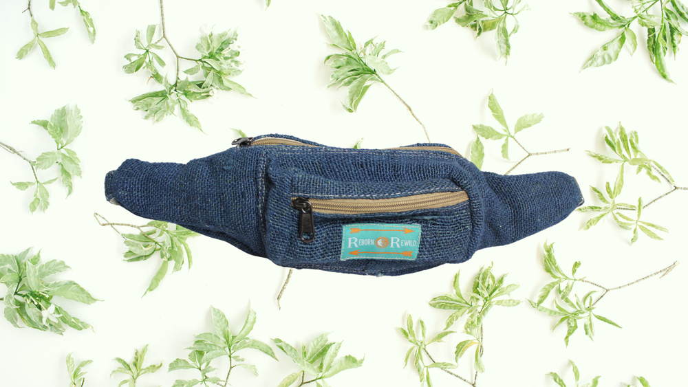 Organic Hemp Bumbag - Blue | 100% Vegan | Eco Friendly | Handmade | Money Belt | Himalayan Hemp