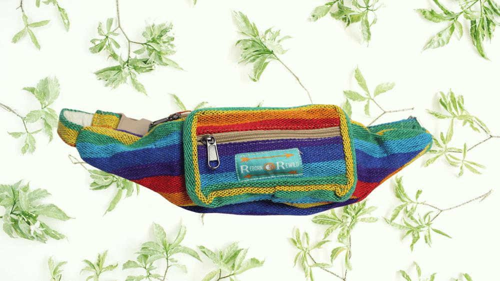 Organic Rainbow Bumbag | 100% Vegan | Eco Friendly | Handmade | Money Belt | Himalayan Hemp