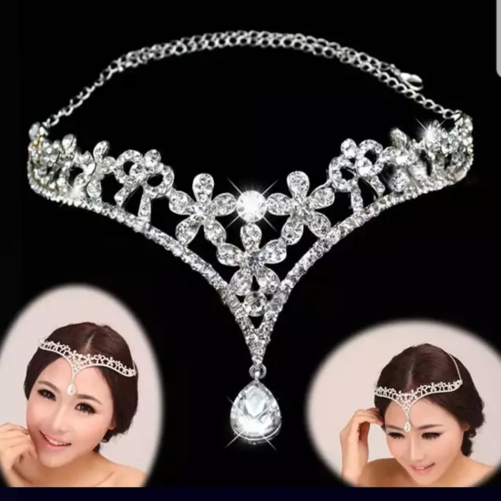 """Felicia"" Crystal Rhinestone Tear Drop  Forehead Headpiece"