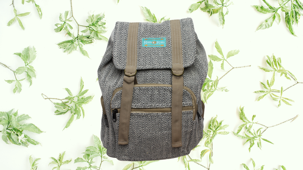 Black Adventure Pack - Hemp Backpack | 100% Vegan | Eco Friendly | Handmade | Organic