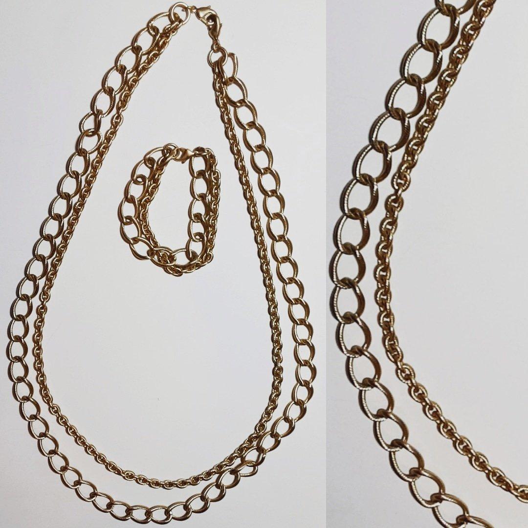 Image of Vintage Two Chains Necklace & Bracelet Set