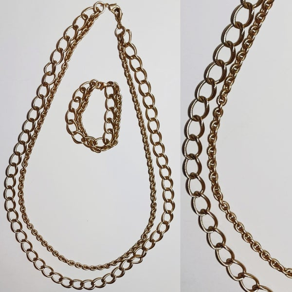 Image of Vintage Two Chains Necklace & Bracelet Set