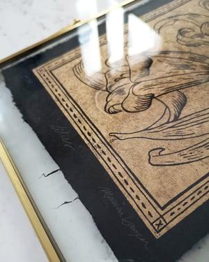 Lilies Linoprint Gold