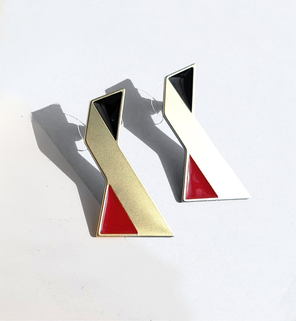 Twisted earrings • Stainless steel • Silver • Red