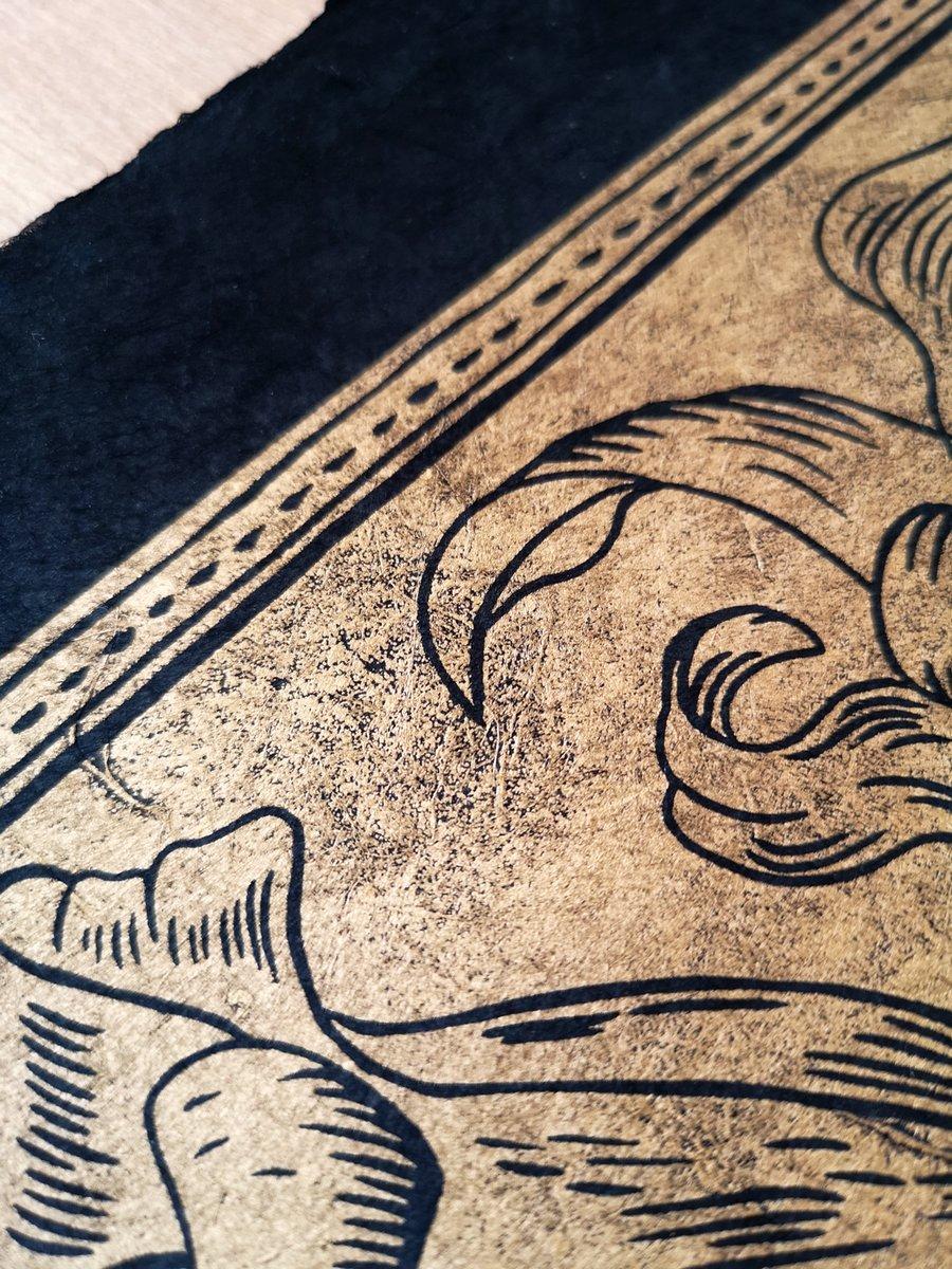 Image of Lilies Linoprint Gold