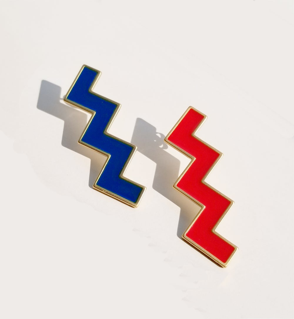 Zs Earrings • Red and Blue