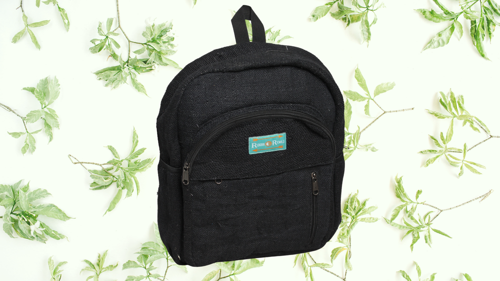 Jon-Luc - Pure Hemp Black Backpack | 100% Vegan | Eco Friendly | Handmade | Himalayan Hemp