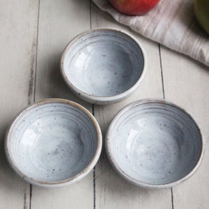Image of Three Small Rustic Prep Bowls in Speckled Stoneware and White Blush Blue Glaze Made in USA