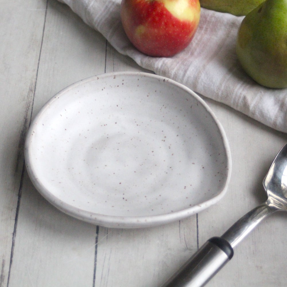 Image of Speckled Stoneware Spoon Rest in White Matte Glaze Handcrafted in USA