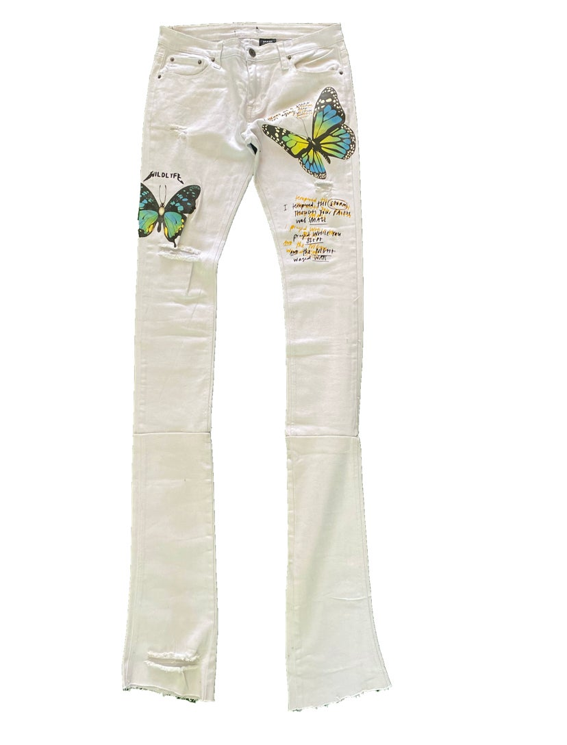 Image of Beautiful disaster stacked denim jeans