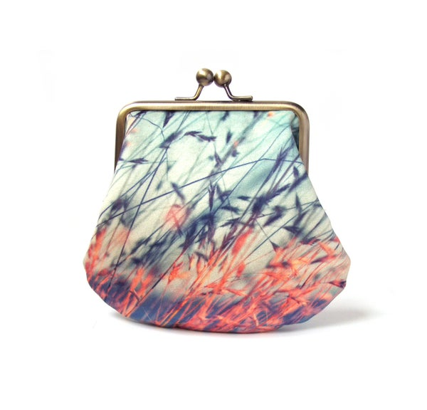 Image of Stipa grasses, large velvet coin and card purse
