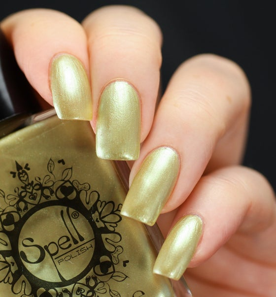 "Image of ~Bunny Kisses~ pale yellow frost chrome nail polish ""Charlie Loves Bella"" Spell Polish!"