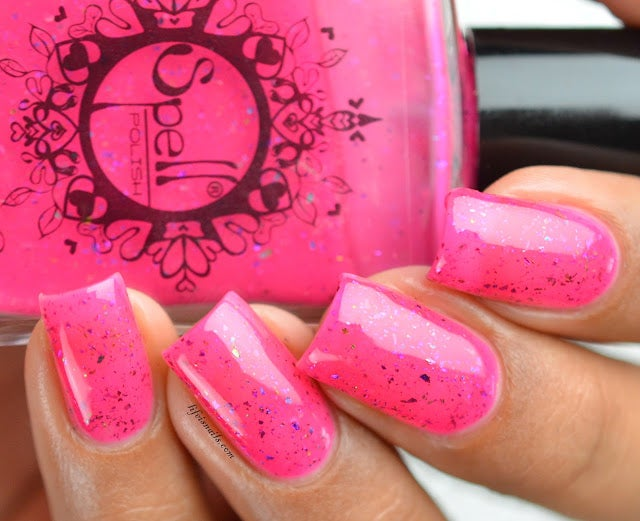 Image of ~The Missing Doll~ candy pink jelly topcoat w/multichrome flakies Dollhouse Mischief!