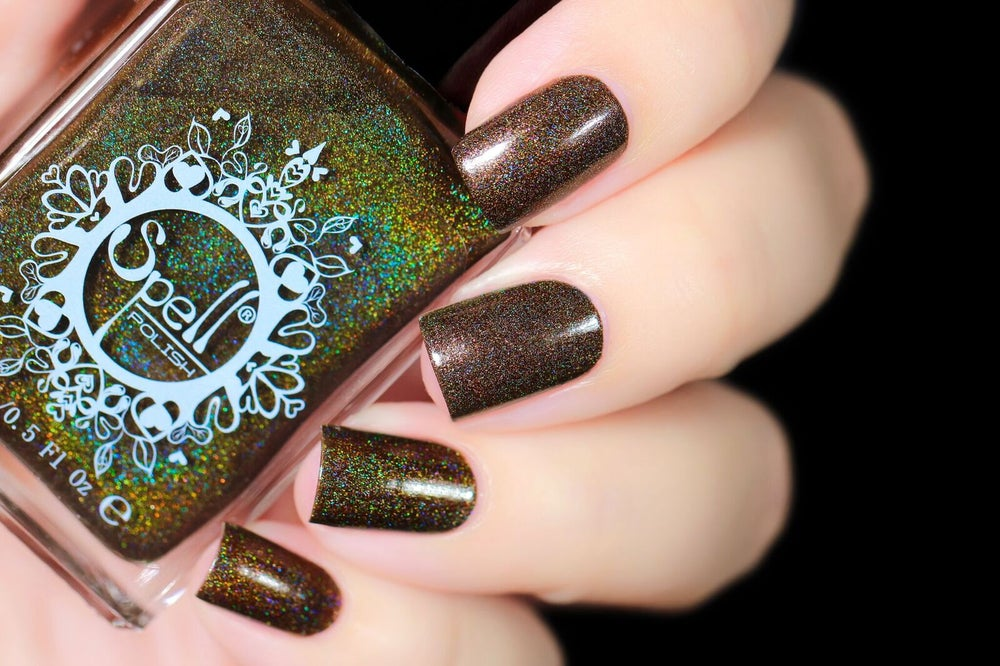 Image of ~Lumbersexual~ dark brown leaning olive linear holo w/pink shimmer!